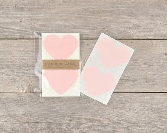 Large Pink Heart Stickers / Ballet Slipper Pink Hearts - 12 pc