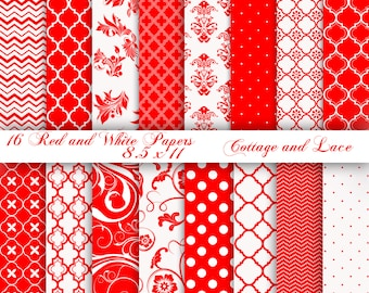 Red Digital Papers, Red and White Digital Polka Dots, Red Printable Swirls and Chevron, Red and White 3 Bonus Papers 19 papers Total.  P106.