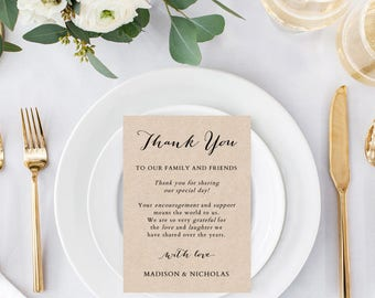 Printable Wedding Thank You Cards - Flat Thank You Card Template - Rustic Table Thank You Card - Thank You Sign - COLOR EDITABLE in Word