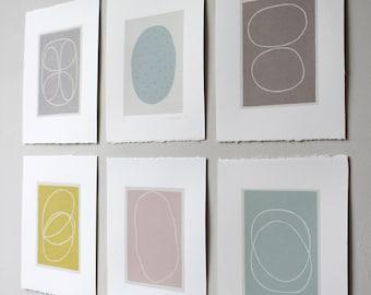 screenprints, small set of six abstract original handmade screenprints. Colourful modern art by Emma Lawrenson.