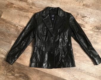 Vintage Ladies Black Leather GAP Blazer Jacket Size 2
