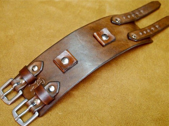 Leather Cuff Bracelet Brown Johnny Depp vintage style cuff watchband Best quality Made in USA for YOU by Freddie Matara