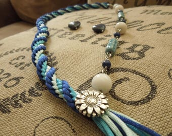 Kumihimo necklace blue