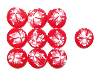 10 Red resin 16 mm round connectors