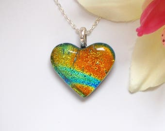 Heart Pendant - Dichroic Glass - Orange Turquoise Glass Necklace - Dichroic Glass Jewellery - Heart Necklace - Necklaces for Women - EP 673
