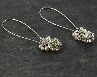 Crystal Cluster Earrings • Jewelry Gift for Bridesmaids • Birthday Gift for Girlfriend • Sparkly Bridesmaid Earrings • Dangly Prom Earrings