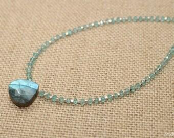 Labradorite and Apatite Necklace, Hill Tribe Beads, Labradorite Jewelry, Gemstone Necklace