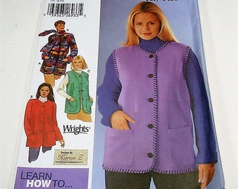Simplicity Easy To Sew Misses' Jacket, Vest And Scarf Pattern 5434 Size  L, XL Must Haves Learn To Whip Stitch