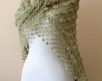 Triangle Crochet Shawl,  Green Shawl, Bridal Shawl, Wedding Shrug, Bridal Wrap, Winter Wedding Accessories, Bridal Accessories, Bridal Wrap