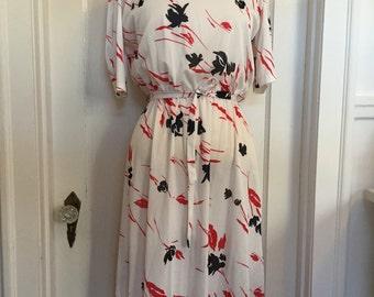 Vintage A-line - White Red Blue Flower Dress - Retro Dress - Short Sleeves - Light Dress