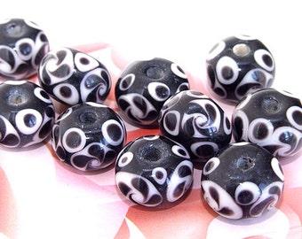 5beads/lot Charm White Flower Rondelle Black Lampwork gemstone beads 8mmx15mm