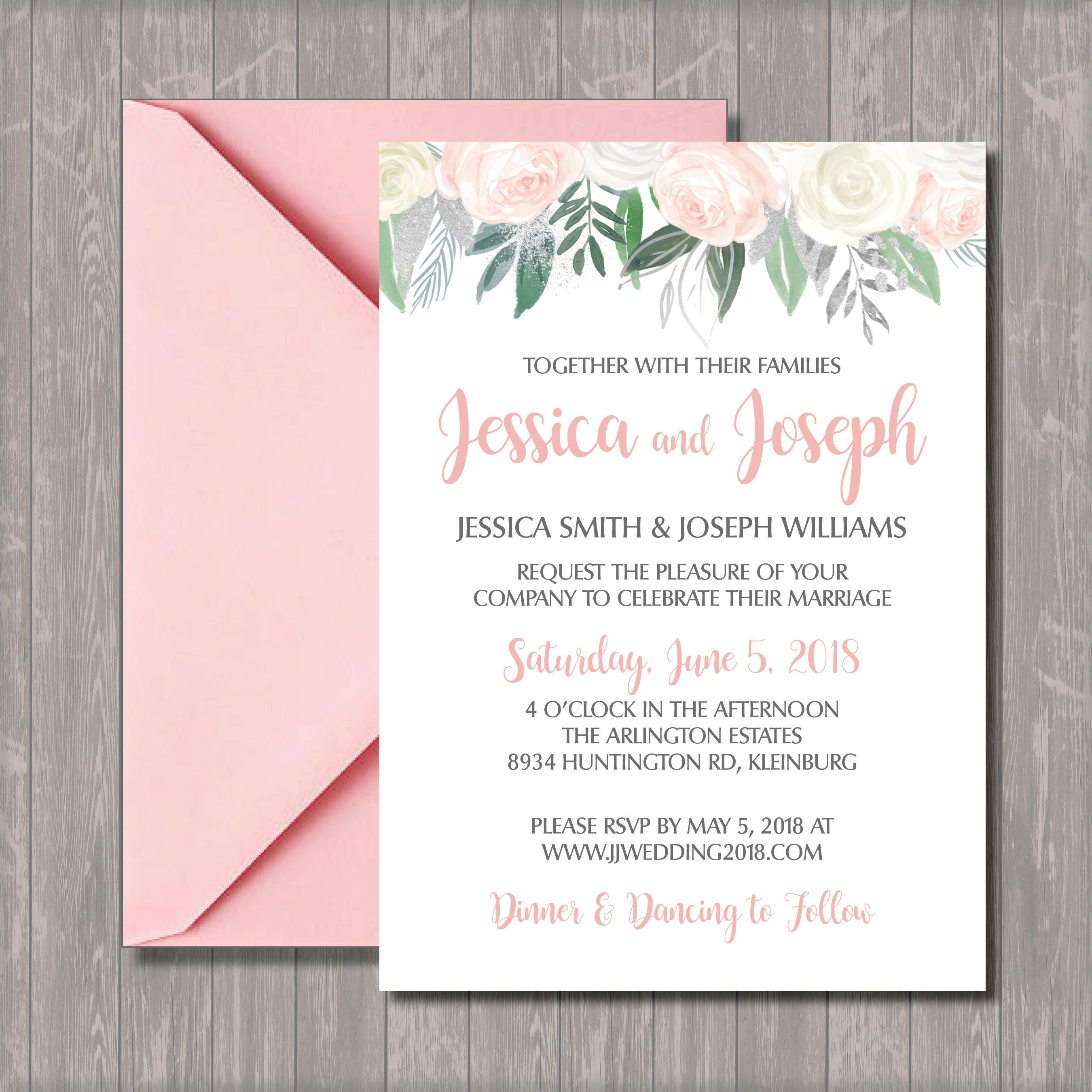 Custom Wedding Invitation And Rsvp Digital Download Pink