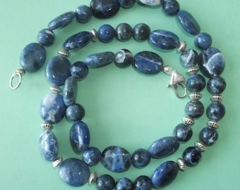 Gemstone Jewelry Necklace - Sodalite and Sterling Silver Gemstone Beaded Necklace