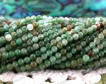 2mm Moss Agate Beads, Very Small to Tiny 2mm Semi Precious Stone Beads, Miniature Gemstone Beads, 2mm Round Stone Spacer Beads  SEM-011