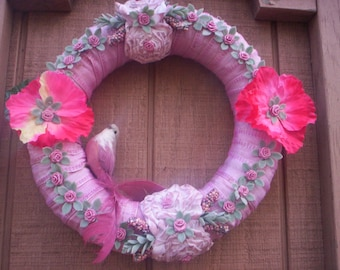 Bird wreath/Fabric fabric wreath/Mother's day wreath/Wedding wreath/Spring wreath/Easter wreath/Shabby chic wreath/Chic  flower wreath.