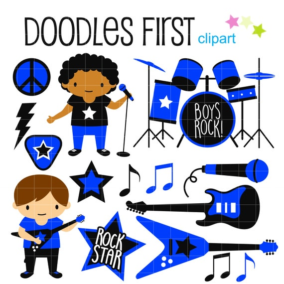 rockstar boy band digital clip art for scrapbooking card rh etsy com rock band clipart kiss rock band clipart