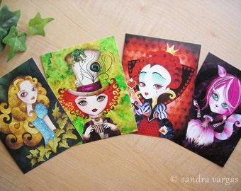 Alice in Wonderland Postcard Set of 8 Postcrossing, Snail Mail, Swap