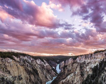 Sunset, Grand Canyon of Yellowstone, Yellowstone National Park, Wyoming Art, Fine Art  Photography, Nature Photography, Wyoming Art