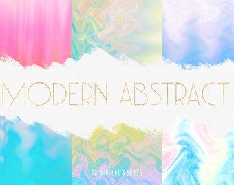 Modern Marble Digital Paper - Rainbow Digital Paper Pack - Tie Dye Papers - Pink Blue Purple - Marbled Digital Background Scrapbook
