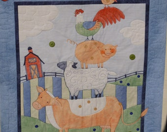 Down on the Farm Baby Quilt - FREE SHIPPING