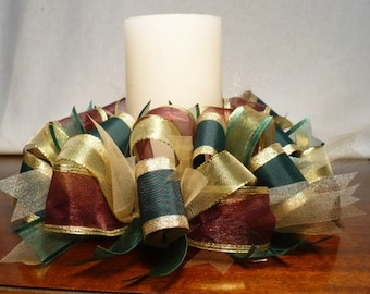 Ribbon candle ring, burgundy/green/gold ribbon candle ring
