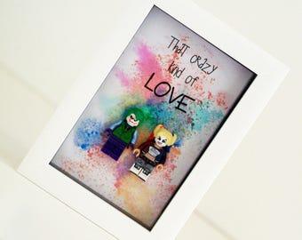 Harley quinn and Joker Novelty Lego Frame / boyfriend girlfriend quirky birthday anniversary present suicide squad gift / Valentines Present