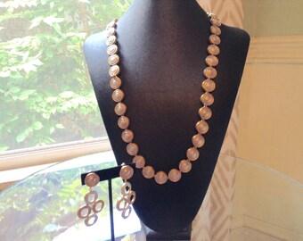 1960s CINER Necklace Earring Set / Signed CINER Demi Parure / Vintage Necklace