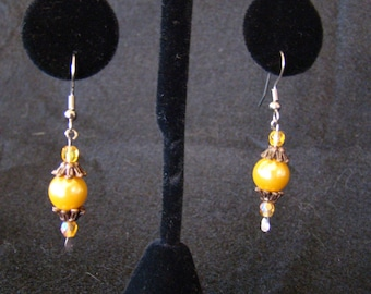 Beautiful Gold Pearl Earings with Brass and Silver findings