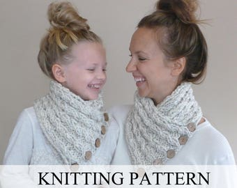 Knitting PATTERN Baby Cabled Button Neckwarmer (Toddler, Child, Adult), Knit Cowl Pattern, Knit Scarf Pattern, Knitted Neck warmer Pattern