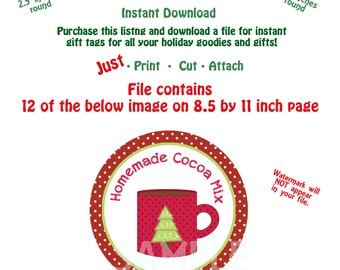Printable Homemade Cocoa Mix Gift Tags  Christmas Cocoa Gift Tag Instant Download