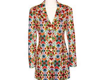 Geoffrey Beene Jacket, Psychedelic Navajo Print, Rare, Vintage Late 1960s to Early 1970s