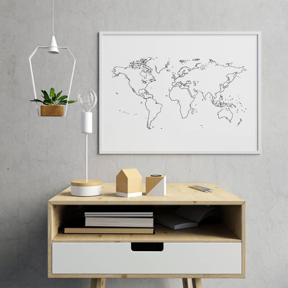 Outline world map outline white world map wall decor world outline world map outline white world map wall decor world map white minimalist world map world map decor world map decoration gumiabroncs Choice Image