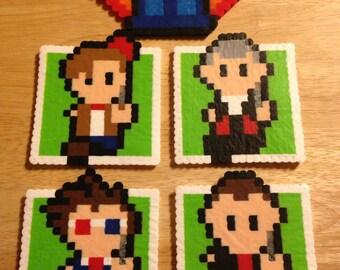 Doctor Who | Perler Bead | Perler Art | Coaster | Set | 8 Bit | David Tennant | Matt Smith | Capaldi | Eccelston