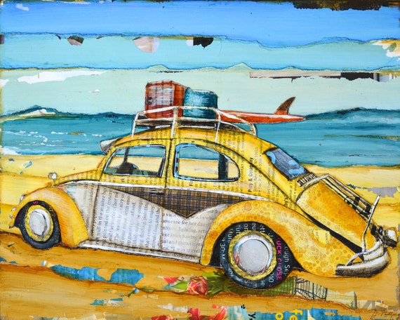 Yellow Vw Volkswagen Bug at the Beach ART PRINT or CANVAS coastal poster wall home decor painting summer gift coastal collage, All sizes