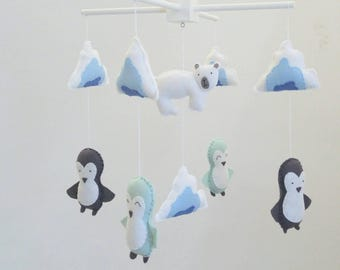 Grey and light mint penguins, polar bear and icebergs baby mobile, arctic baby mobile - cute little nursery mobile made to order