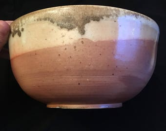 Wood fired bowl w/white shino
