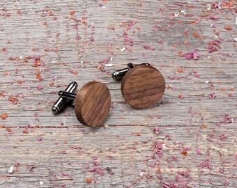 Wood Cufflinks, Round walnut cufflink, boyfriends gift, gift for him, wedding cufflinks set, engraving men cufflinks, groomsmen, customized