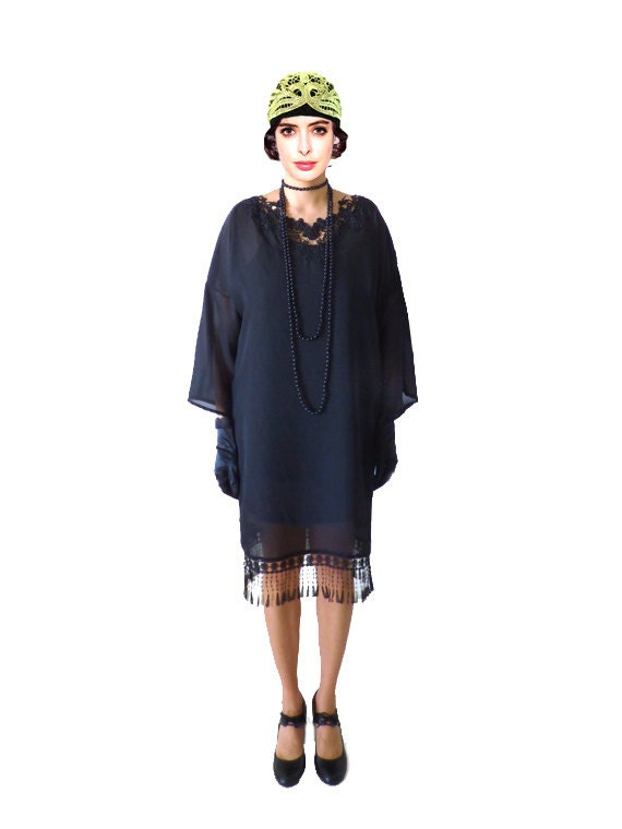 1920s Day Dresses, Tea Dresses, Mature Dresses with Sleeves Black Flapper Dress Costume 1920s Roaring 20s Kimono Black $86.00 AT vintagedancer.com