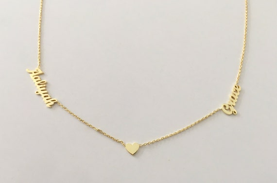 14k Gold Name Necklace Solid Gold Name Necklace