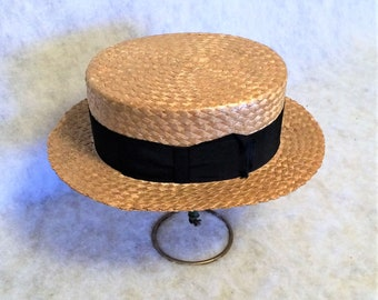 Antique 1910s 1920s Straw Boater Hat Size 7 By Spear Hats