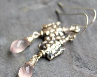 Rose Quartz Earrings Pink Drops with Square Bali Sterling Silver Beads Gemstone Earrings