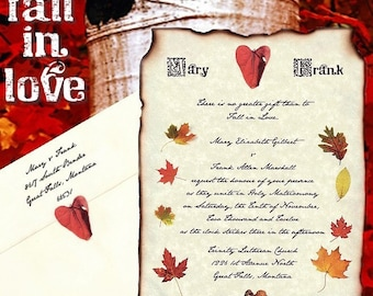 Fall Autumn Scroll Wedding Invitations party invites and Response RSVP Cards qty 50 (Package)