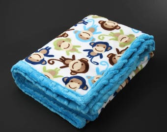Blue fleece baby blanket, double plush baby blanket, blue monkey, cheeky monkey, jungle blanket, monkey blanket, pram blanket, dimple