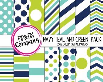 Navy, Teal and Green Digital Paper Pack, Scrapbook Paper, Blue,Teal, Green, Instant Download,  Polka Dots Stripes