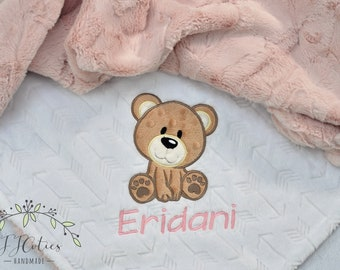 Baby Girl Blanket-Teddy Bear Personalized baby blanket-Bear Minky blanket-Boy Girl Minky Teddy Bear Blanket-Bear Girl Blanket-Bear Nursery