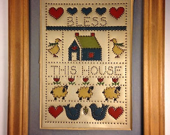 Bless This House Vintage Hand-Painted Punched Tin by K.B. and Co.
