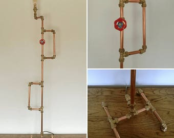 Copper Pipe Industrial Floor Lamp with Brass plumbing fittings plus a Gate Valve feature.