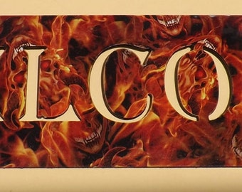 Welcome sign, Metal Art, Office, Business, Home, Cabin, Hydro graphic finish, Hydro dipping, Hydrographic Red Fire Flame with Skull