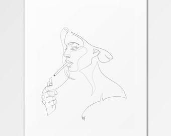 Anouk - Fine-Art-Print von einer einzigen Linie Illustration