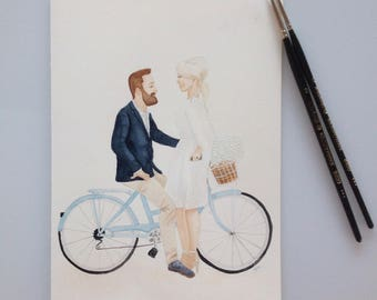 Custom Couple Portrait, Original Couple A4 Watercolour Portrait, Celebrate Love Portrait